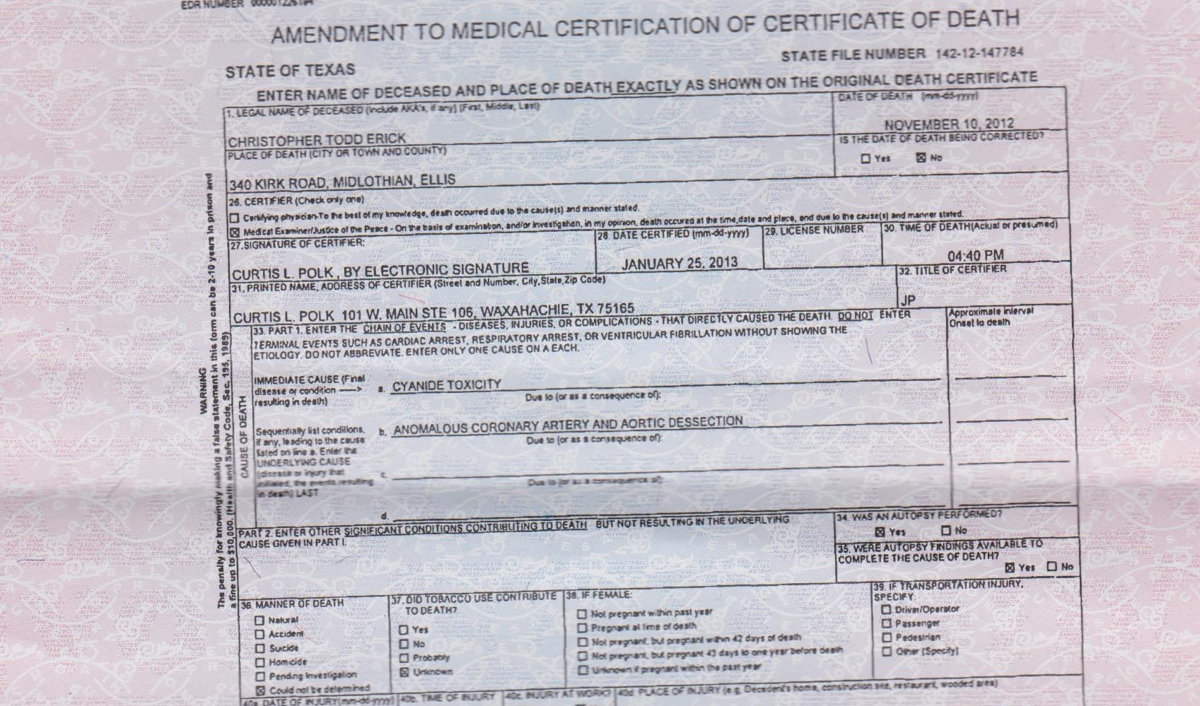 Murder mystery in midlothian texas crime scene photos death certificate xflitez Choice Image